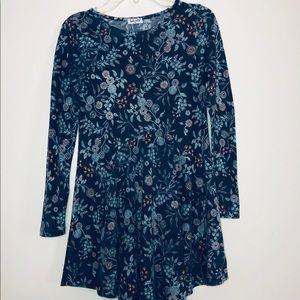 Splendid Blue Dress with Floral Design
